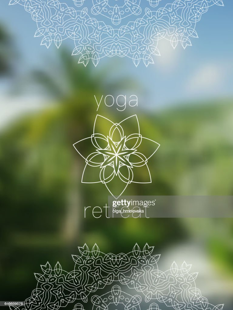 Tropical yoga retreat banner with mandala