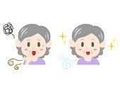 Trouble of bad breath and body odor(elderly woman)