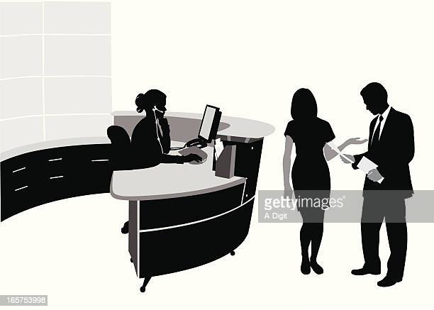 troubling biz vector silhouette - hotel reception stock illustrations, clip art, cartoons, & icons