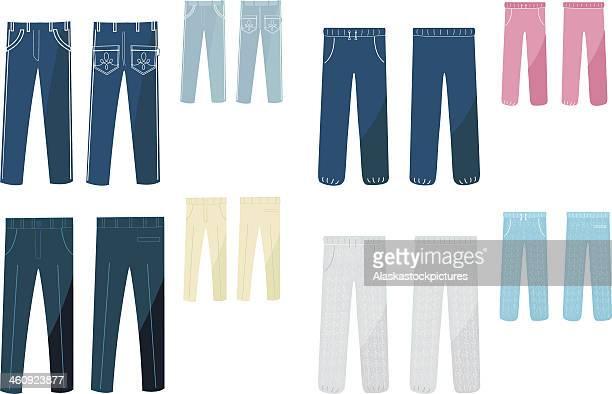 ilustrações, clipart, desenhos animados e ícones de calça (8 varios). - calça comprida