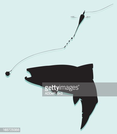 Trout Float Fishing Silhouette stock illustration - Getty Images
