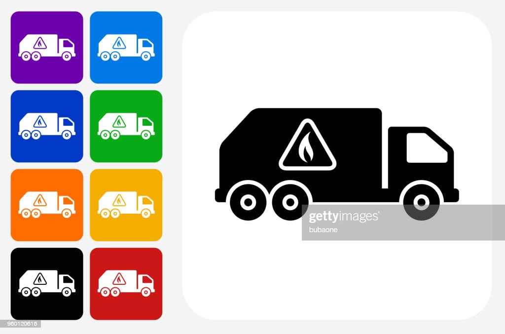 LKW und brennbare Stoffe Symbol Square Buttonset : Stock-Illustration