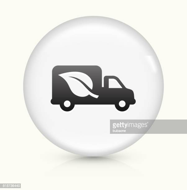 Truck and Leaf icon on white round vector button