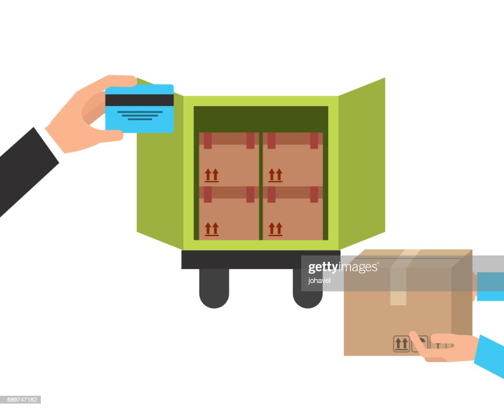 truck and package icon. Delivery and Shipping design. Vector gra