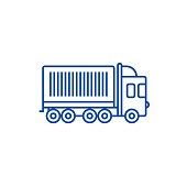 Truck, cargo container line icon concept. Truck, cargo container flat  vector symbol, sign, outline illustration.
