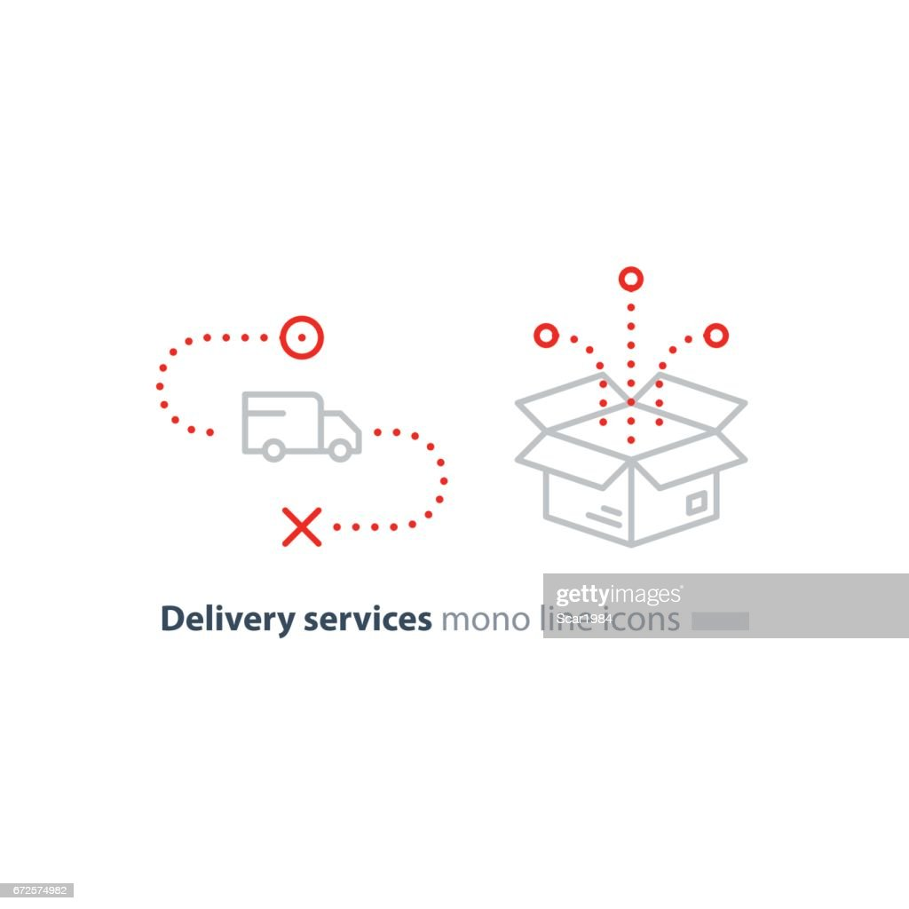 Truck delivery and box package, transportation services line icons