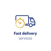 Truck delivery duration, fast relocation services, transportation company  elements, shipping order day, distribution line icon