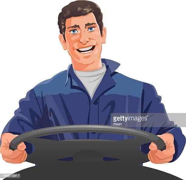 illustrations, cliparts, dessins animés et icônes de chauffeur routier - chauffeur routier