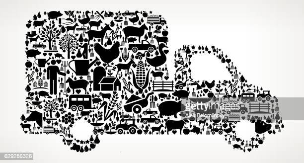 Truck Farming and Agriculture Black Icon Pattern
