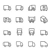 Truck, icon set. lorry, linear icons. Line with editable stroke