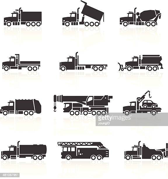 truck icons set - fire engine stock illustrations, clip art, cartoons, & icons