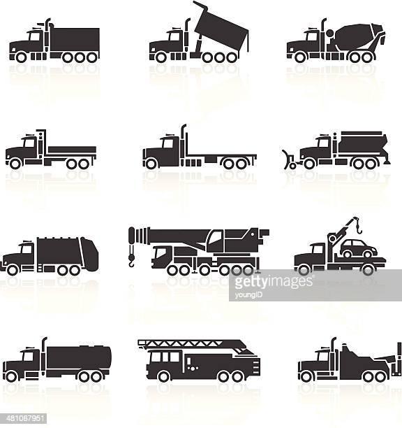 truck icons set - oil tanker stock illustrations, clip art, cartoons, & icons