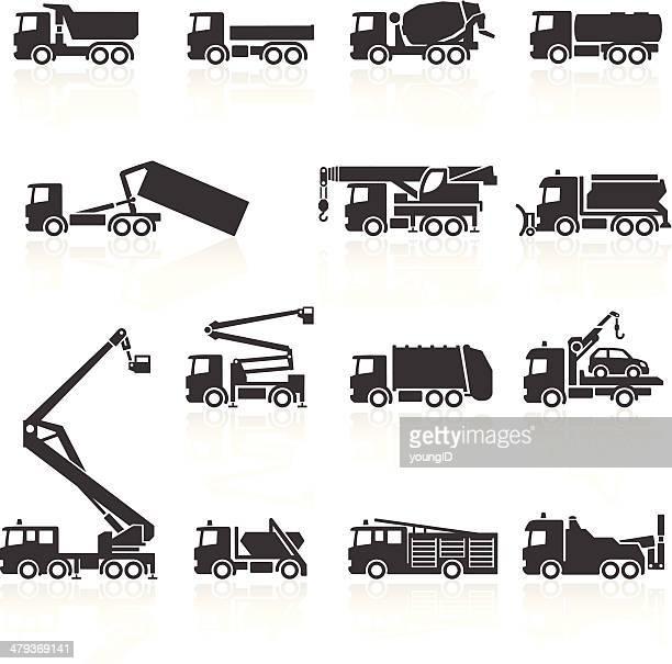 truck icons - crane construction machinery stock illustrations