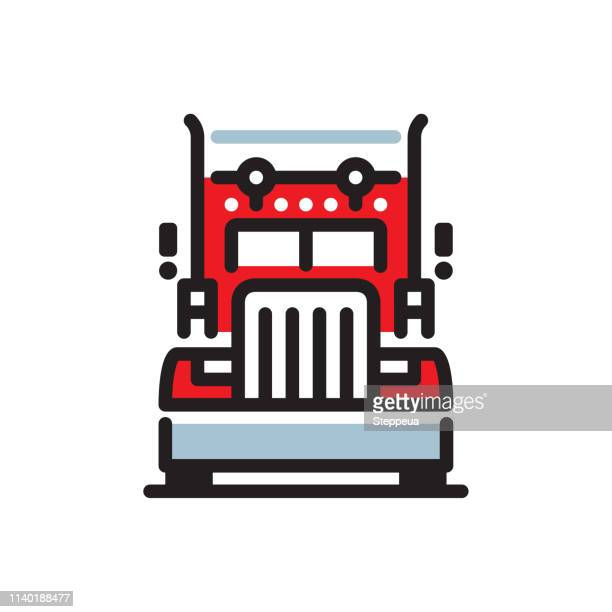 truck line icon - front view stock illustrations
