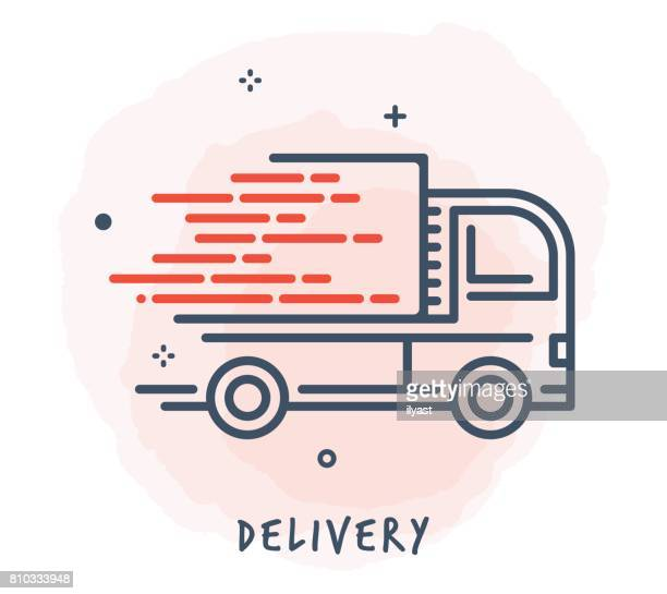 truck line icon - drawing art product stock illustrations
