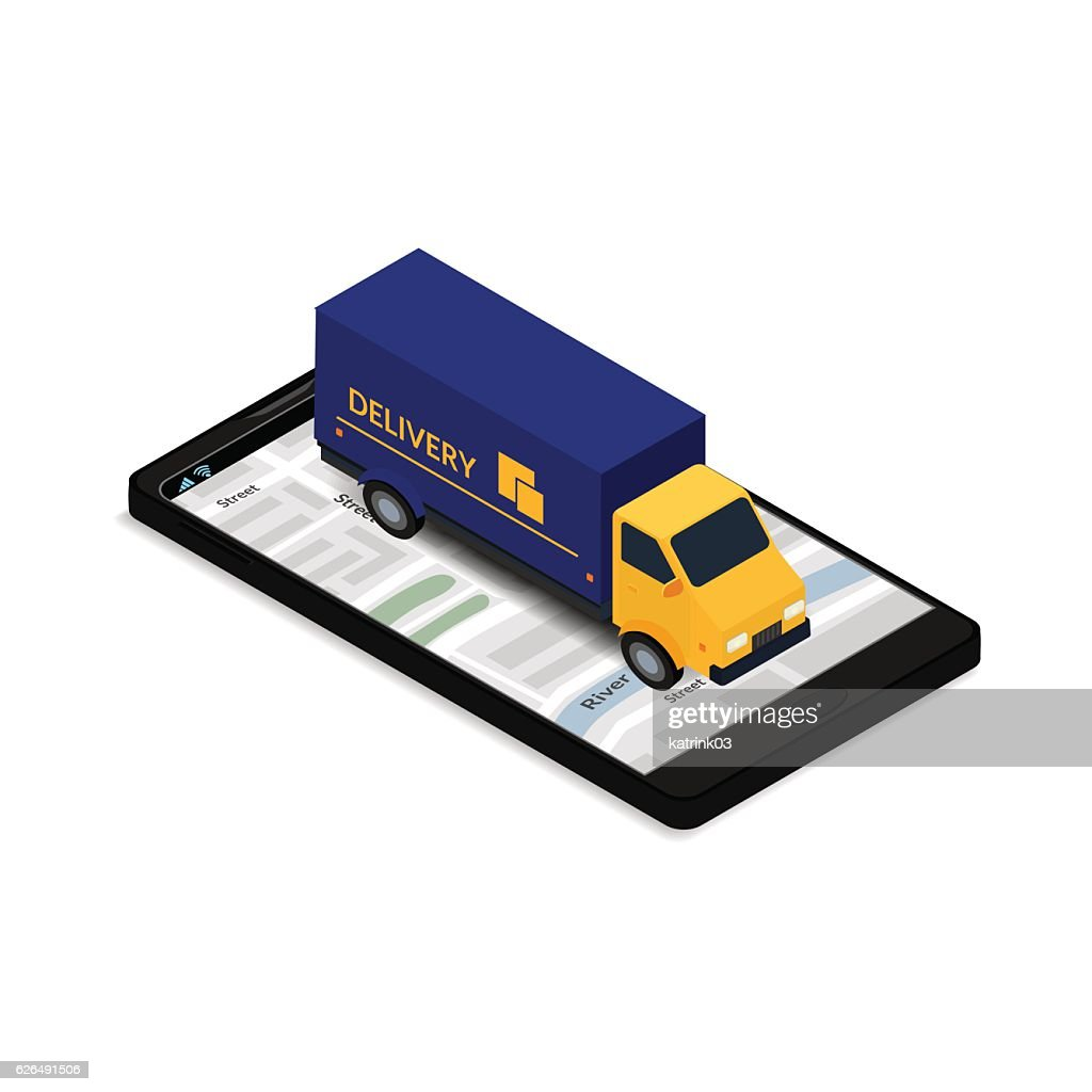 truck on the mobile phone screen with map
