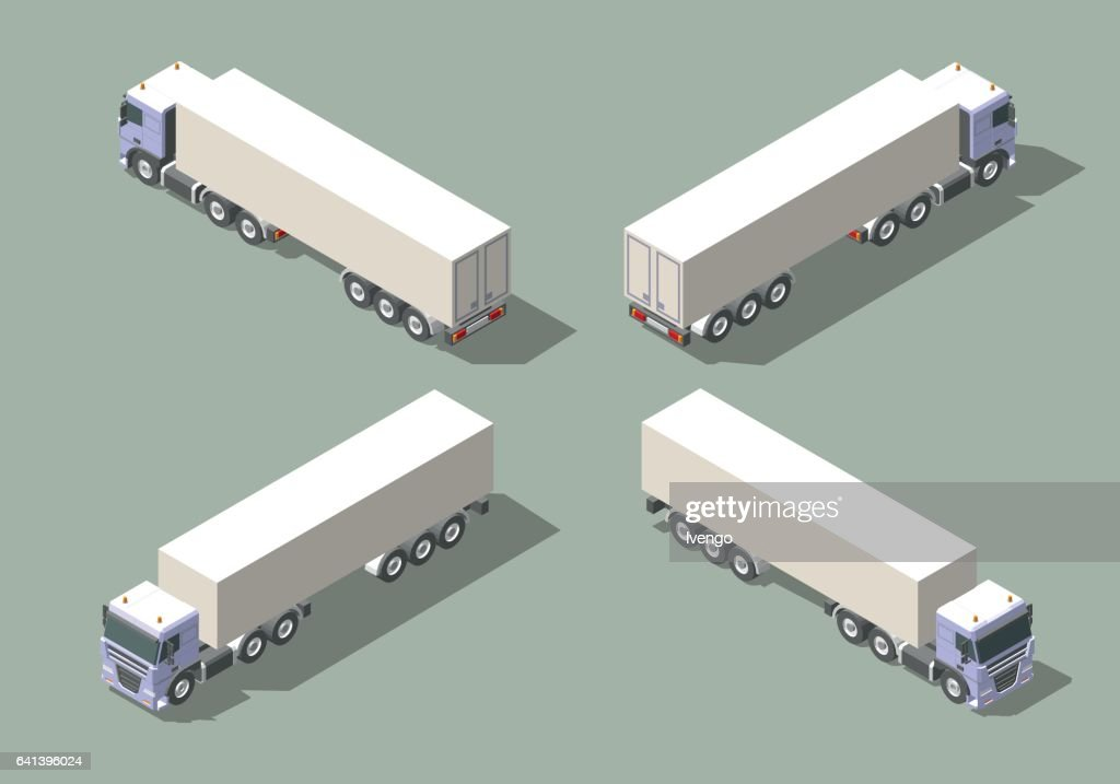Truck with box semi-trailer in four views isometric icon vector graphic illustration design. Infografic elements
