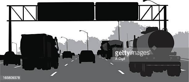 truckin' vector silhouette - oil tanker stock illustrations, clip art, cartoons, & icons