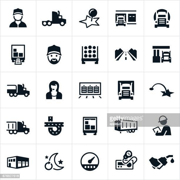 trucking industry icons - loading dock stock illustrations