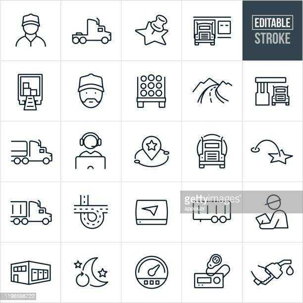 trucking thin line icons - editable stroke - truck stock illustrations