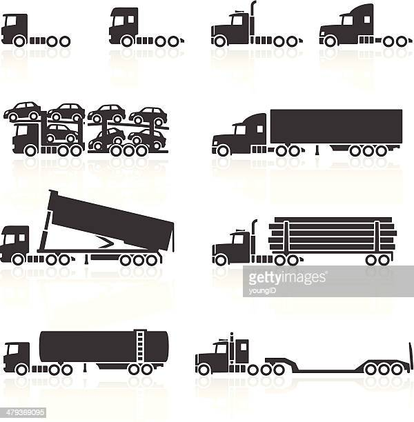 trucks and semi-trailer icons - truck stock illustrations