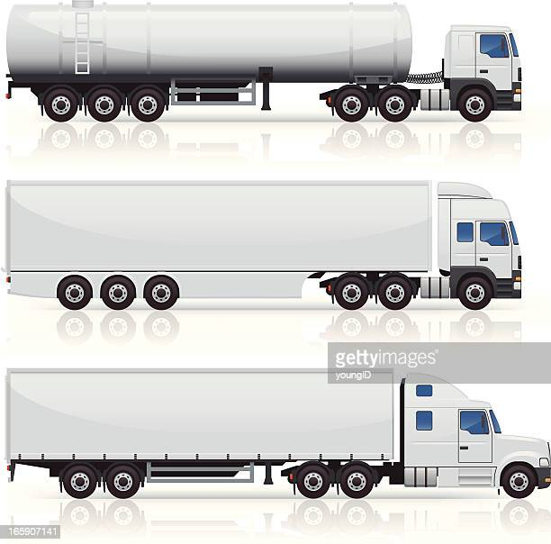 trucks & trailers icons - side view stock illustrations