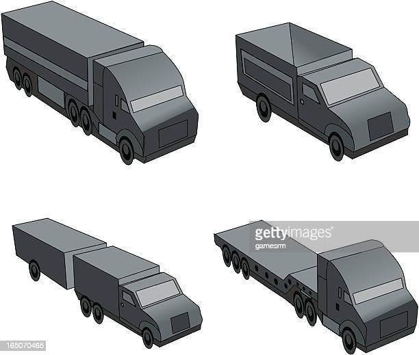 3d trucks - low rider stock illustrations