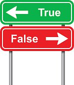 True and false green and red signal on white background