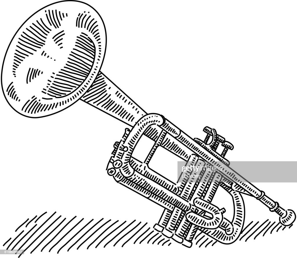 Uncategorized Drawing Of A Trumpet trumpet drawing vector art getty images art