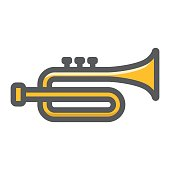 Trumpet filled outline icon, music and instrument, sound sign vector graphics, a colorful line pattern on a white background, eps 10.