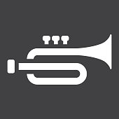 Trumpet glyph icon, music and instrument, sound sign vector graphics, a solid pattern on a black background, eps 10.