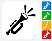 Trumpet Icon Flat Graphic Design