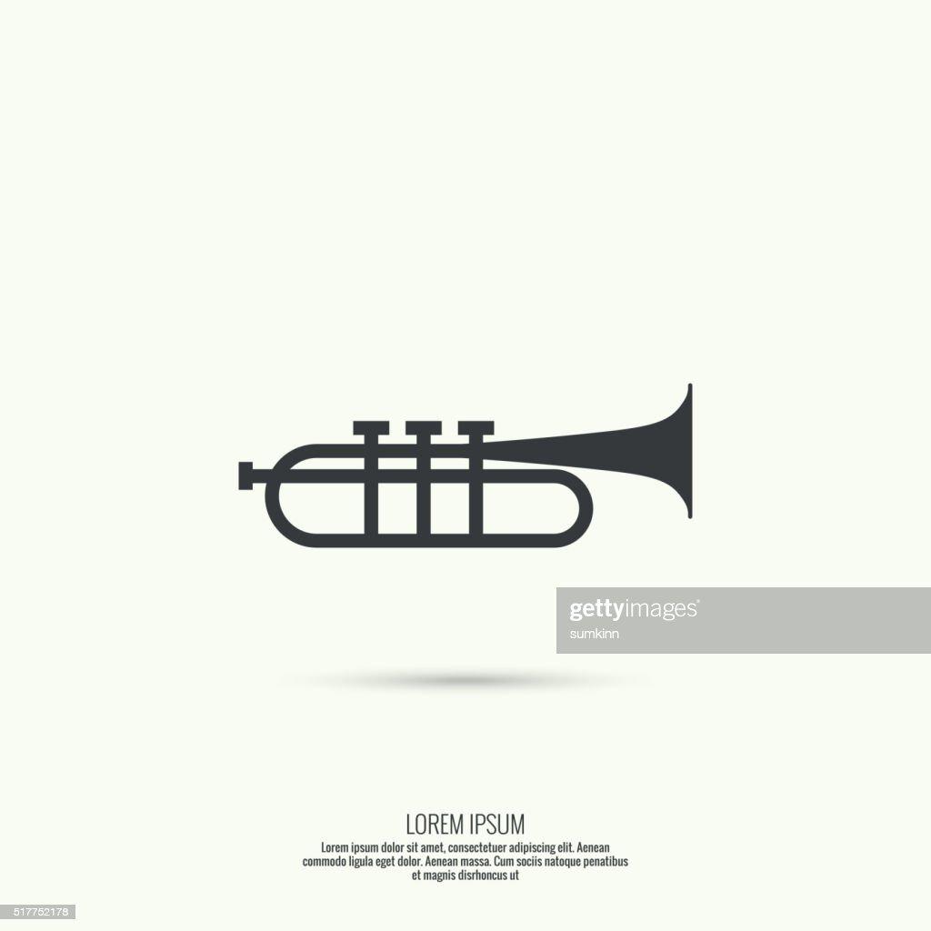 trumpet line icon vector.