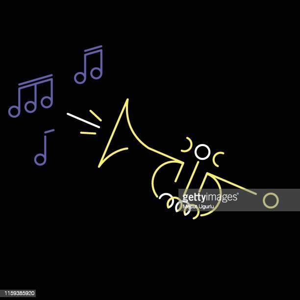 trumpet neon sign - trumpet stock illustrations