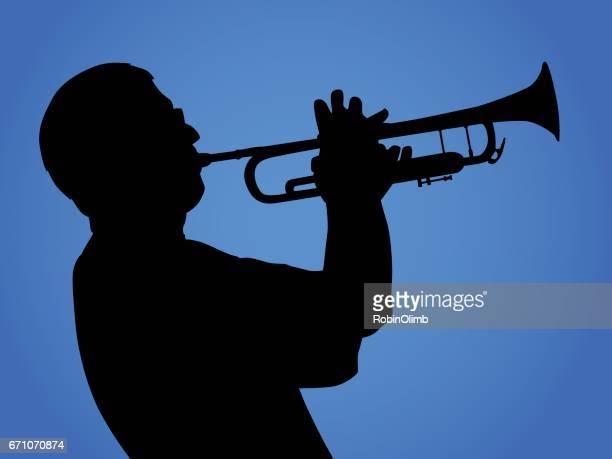 trumpet player - jazz stock illustrations, clip art, cartoons, & icons