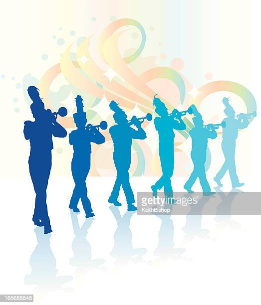 trumpet players - marching band - parade stock illustrations, clip art, cartoons, & icons