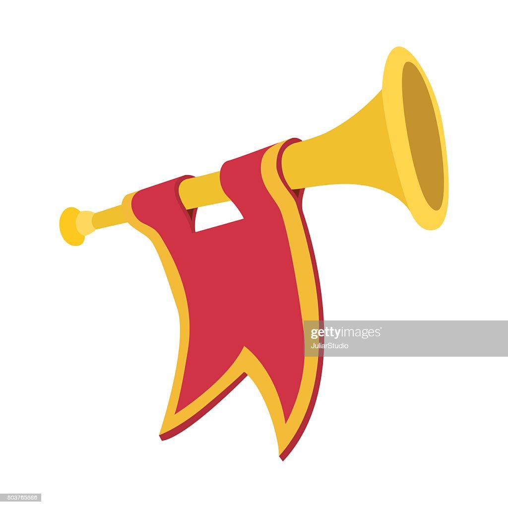 Trumpet with red flag cartoon