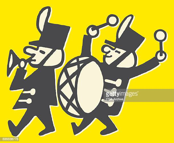 trumpeter and bass drummer in marching band - parade stock illustrations, clip art, cartoons, & icons