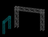 Truss construction. Isolated on black background. Vector outline illustration.