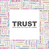 Trust centered and surrounded by multicolored positive words