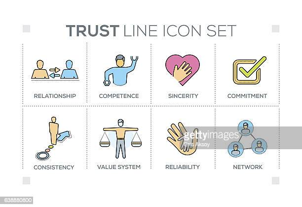 trust keywords with line icons - respect stock illustrations