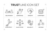 Trust keywords with monochrome line icons