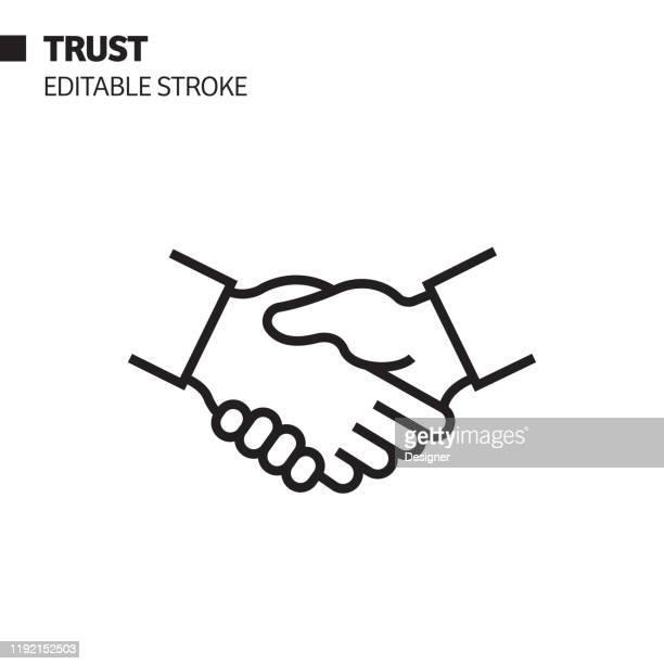 trust line icon, outline vector symbol illustration. pixel perfect, editable stroke. - handshake stock illustrations