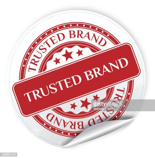 ilustraciones, imágenes clip art, dibujos animados e iconos de stock de pegatina de marca de confianza - lealtad