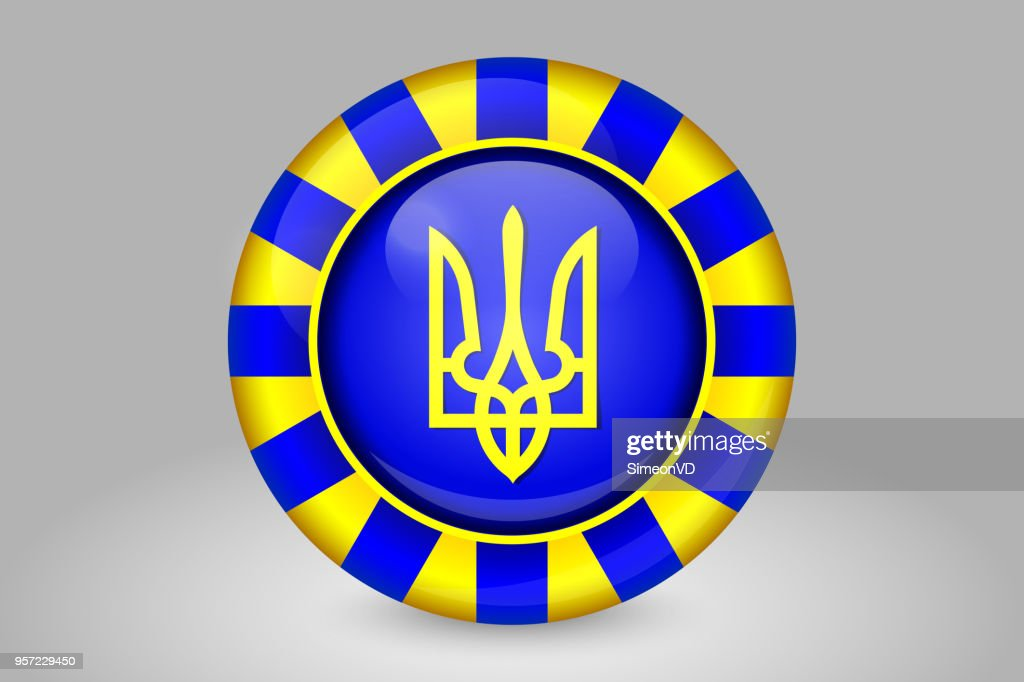 Tryzub. Trident. National Symbols of Ukraine. Glass Round Vector Icon. Isolated on Gray