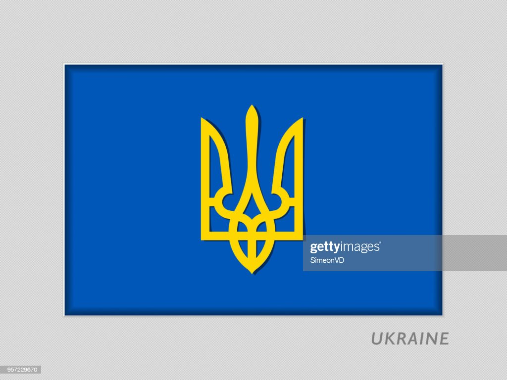 Tryzub. Trident. National Symbols of Ukraine. National Ensign Aspect Ratio 2 to 3 on Gray Cardboard