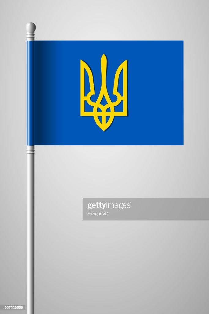 Tryzub. Trident. National Symbols of Ukraine. National Flag on Flagpole. Isolated Illustration on Gray Background