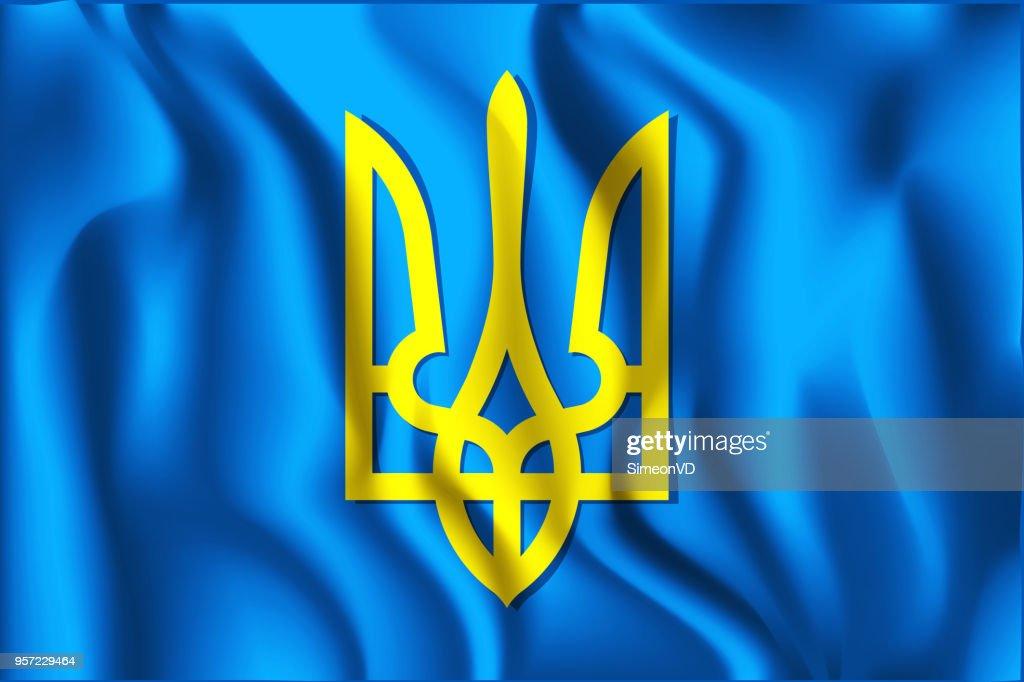 Tryzub. Trident. National Symbols of Ukraine. Rectangular Icon. Waving Effect. Vector Illustration
