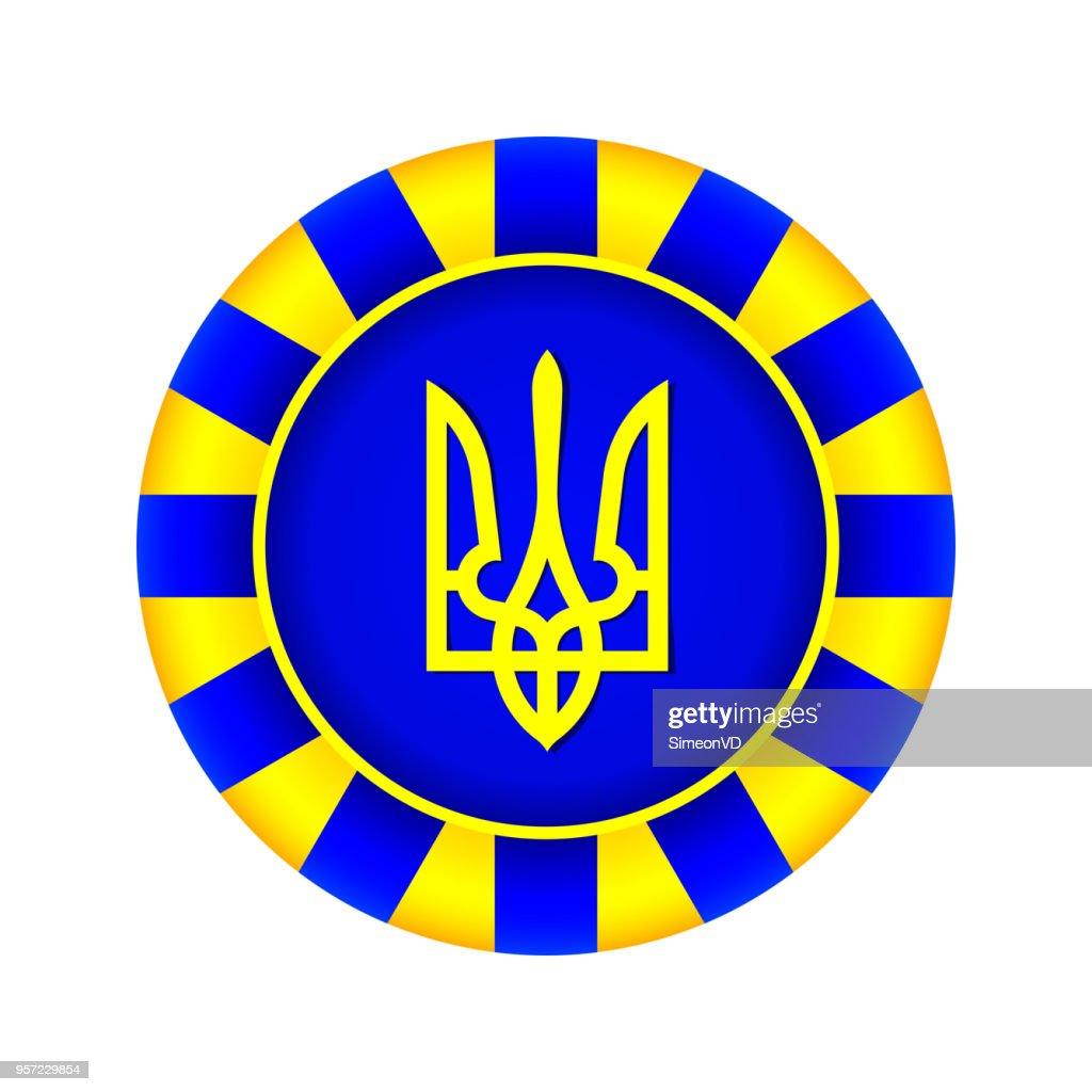 Tryzub. Trident. National Symbols of Ukraine. Round Vector Icon. Isolated on White