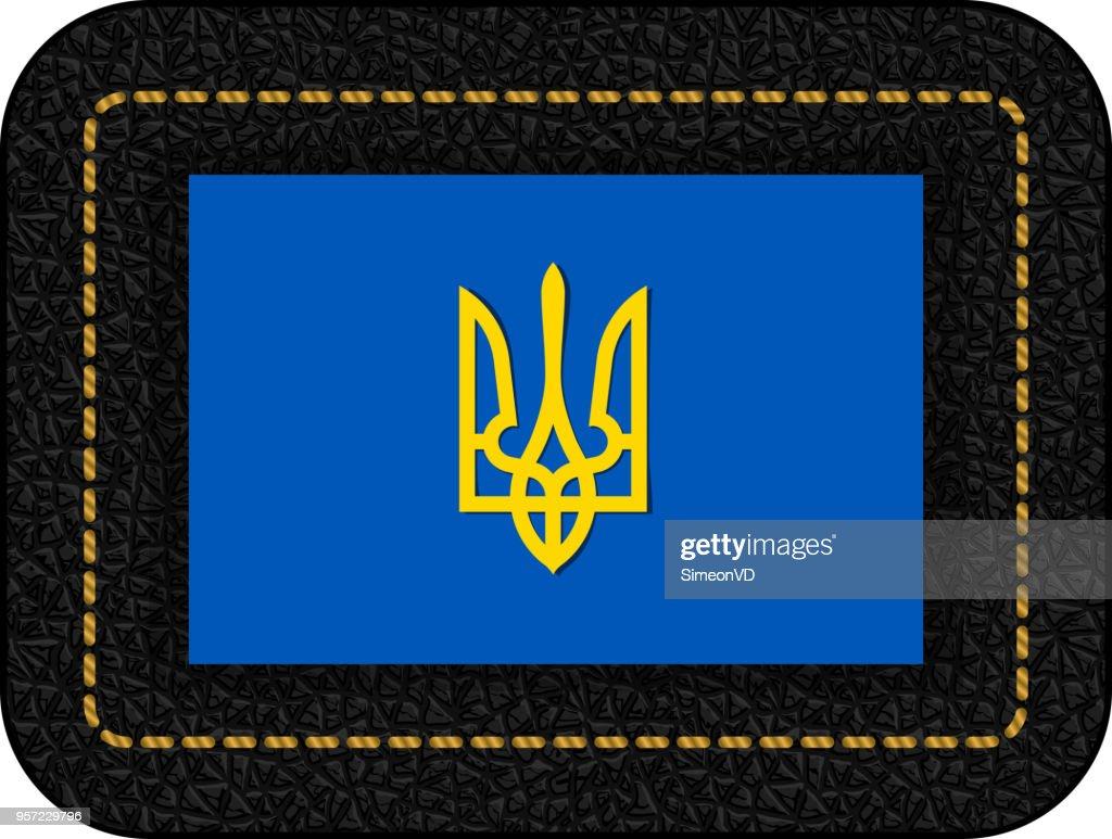 Tryzub. Trident. National Symbols of Ukraine. Vector Icon on Black Leather Backdrop. Aspect Ratio 2:3
